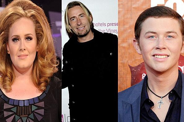 Adele, Chad Kroeger, Scotty McCreery