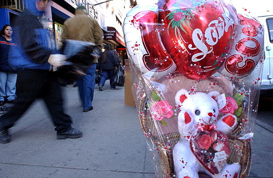 New York Flower District Before Valentines Day