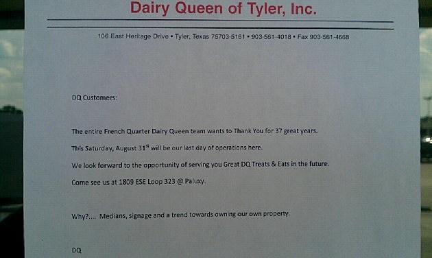 Dairy Queen letter