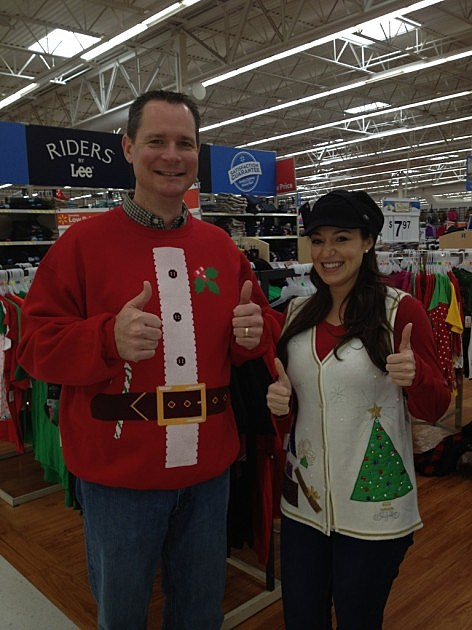 Lucky Larry and Mandee Montana in ugly Christmas sweaters