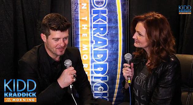 Robin Thicke and Kellie Rasberry from Kidd Kraddick in the Morning