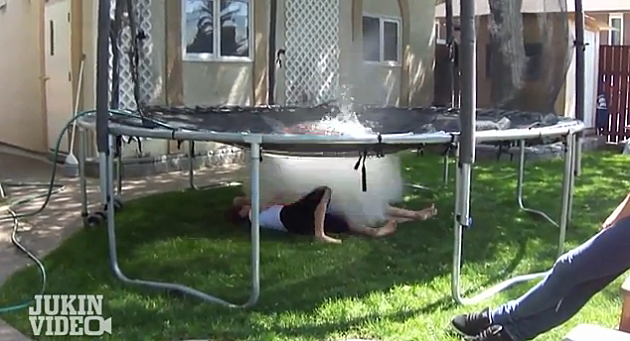 trampoline and a water balloon