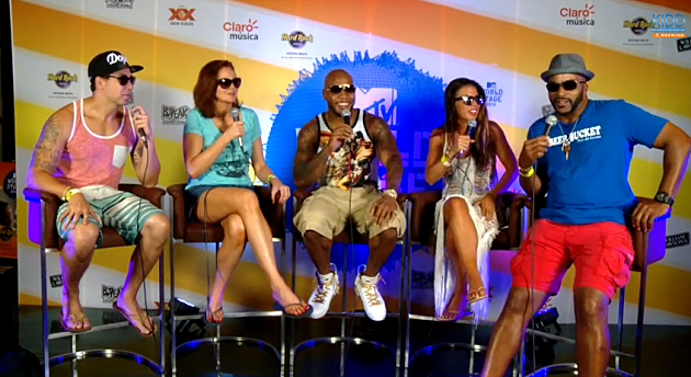 Flo Rida with the cast of the Kidd Kraddick Morning Show