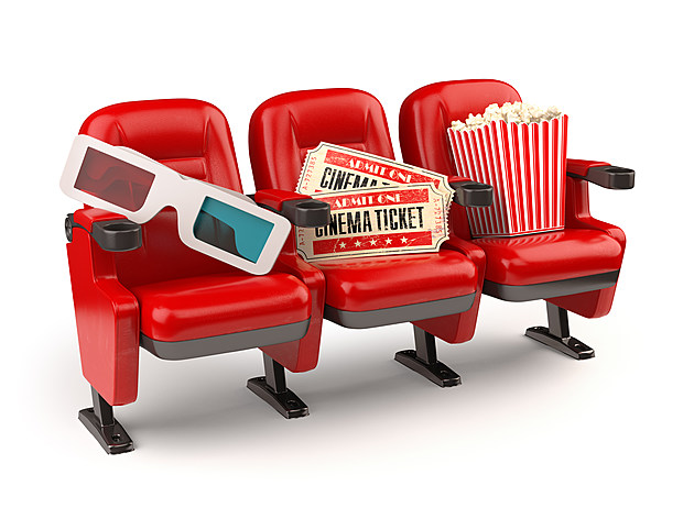 Cinema concept. Red seats with tickets, popcorn and 3d glasses.