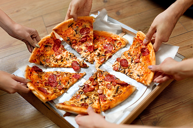 Eating Food. People Taking Pizza Slices. Friends Leisure, Fast Food
