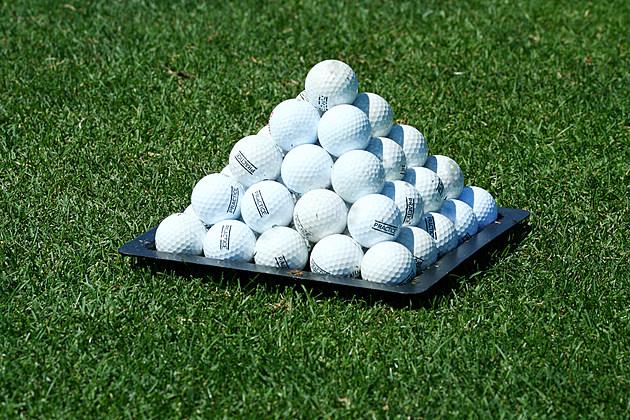 Pyramid of practice golf balls